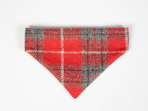 Collared Creatures Red & Grey Check Luxury Harris Tweed Dog Bandana