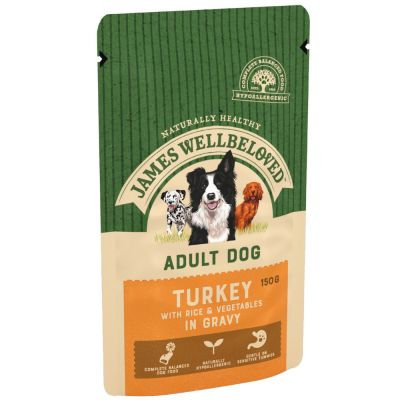James Wellbeloved Adult Dog Pouch Turkey 10 x 150g