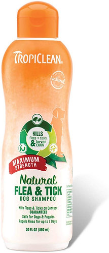 Tropiclean Natural Flea and Tick Shampoo Maximum Strength 355ml