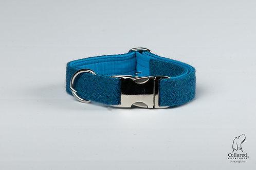 Collared Creatures Teal Herringbone Luxury Harris Tweed Dog Collar