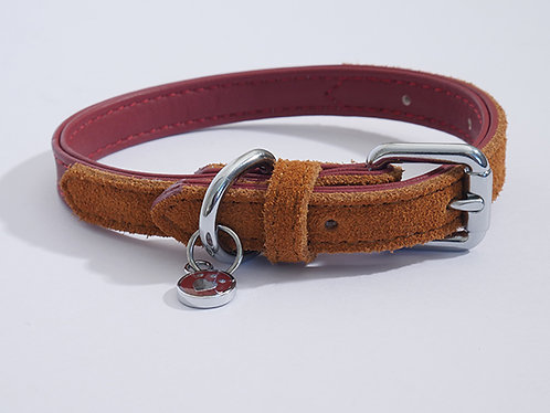 Rosewood Luxury Leather Dog Collar - Soft Touch Red