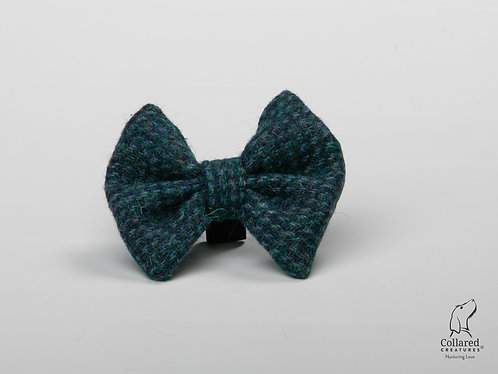 Collared Creatures Teal with a Touch of Blue Luxury Harris Tweed Dog Bow Tie