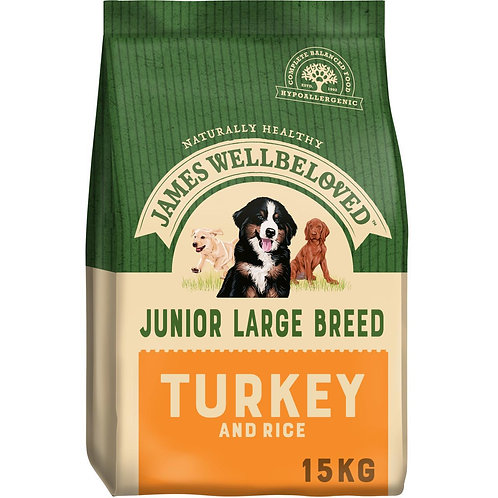 James Wellbeloved Complete Dry Junior Large Breed Dog Food, Turkey and Rice, 15