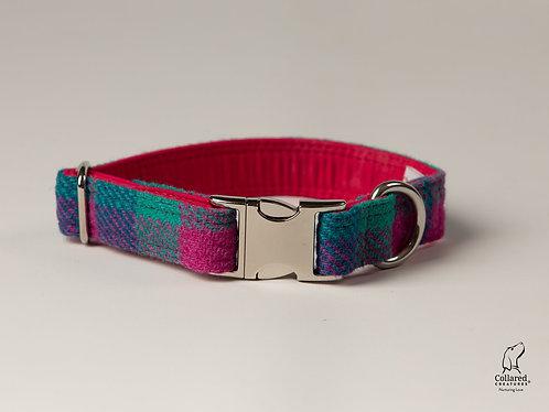 Collared Creatures Emerald Green & Pink Check Luxury Harris Tweed Dog Collar