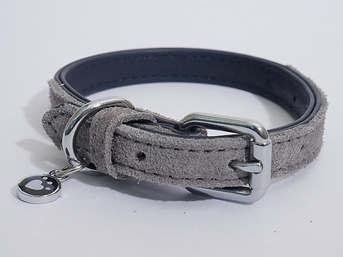 Rosewood Luxury Leather Dog Collar - Soft Touch Navy