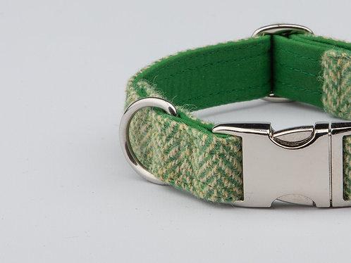 Collared Creatures Green Herringbone Luxury Harris Tweed Dog Collar