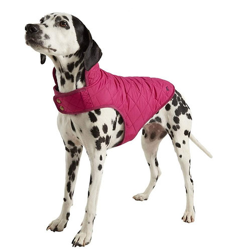 Joules Raspberry Quilted Dog Coat - Medium