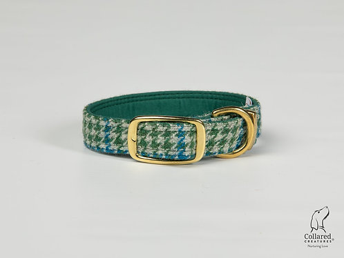 Collared Creatures Forest Green & Blue Houndstooth Harris Tweed Dog Collar