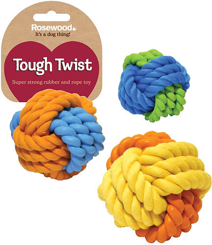 Rosewood Tough Twist Rubber & Rope Ball 3""