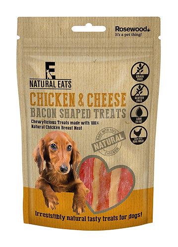 Rosewood Natural Eats Chicken & Cheese Bacon Shaped Treats 100g