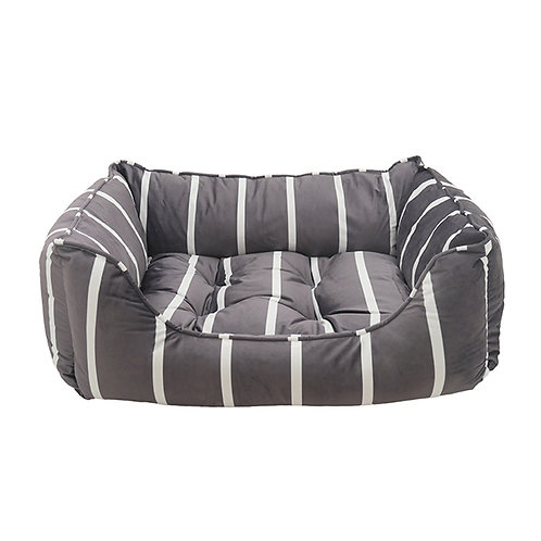 Rosewood Grey Velvet Stripes Square Bed - Large