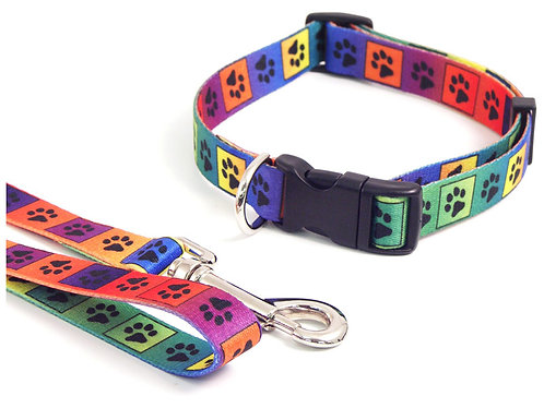 Rosewood Wag 'N' Walk Bright Multi Paw Collar