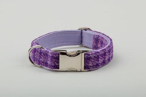Collared Creatures Purple Dream Check Harris Tweed Dog Collar