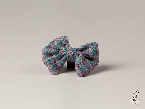 Collared Creatures Pastel Pink Check Herringbone Luxury Harris Tweed Dog Bow Tie