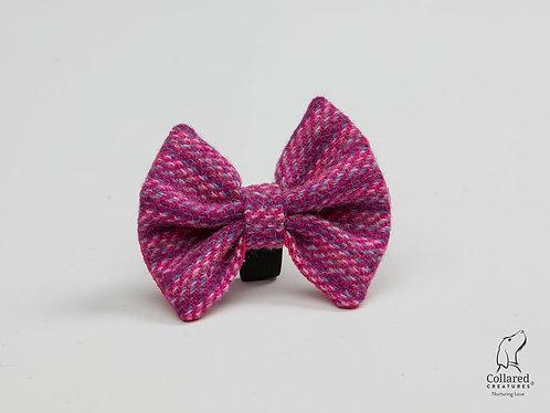Collared Creatures Pink Koana Luxury Harris Tweed Dog Bow Tie