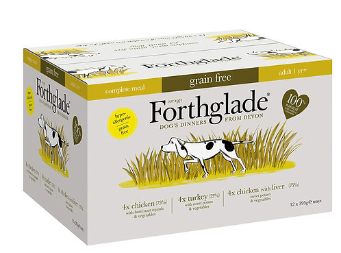 Forthglade Natural Grain Free Complete Wet Dog Food Poultry Variety 12x395g