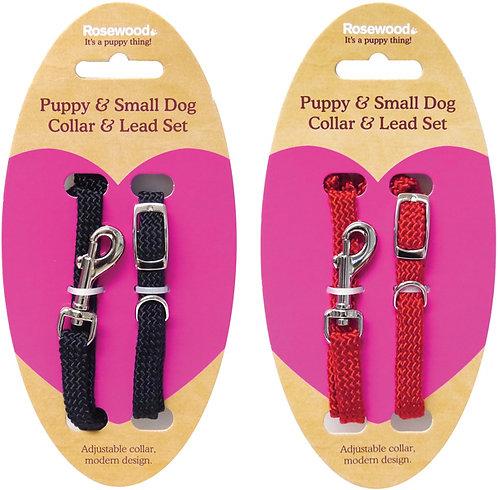 Rosewood Puppy Collar & Lead Set - Soft WeaveRed/Black