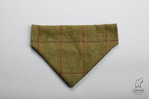 Collared Creatures Green Check Yorkshire Tweed Luxury Dog Bandana