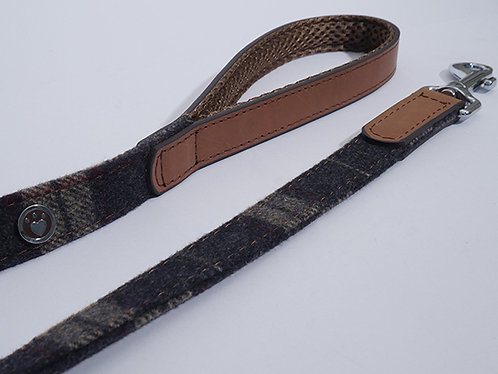 Rosewood Luxury Leather Dog Lead - Tweed Check