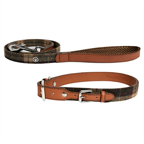 Rosewood Luxury Leather Dog Collar - Tweed Check
