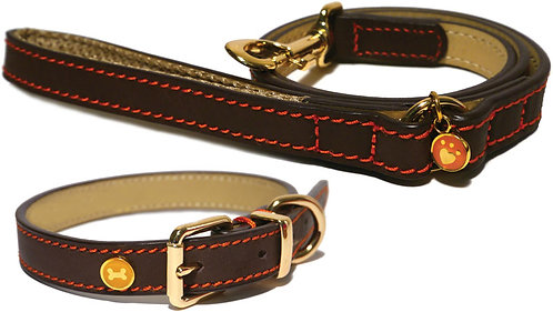 Rosewood Luxury Leather Dog Collar - Brown