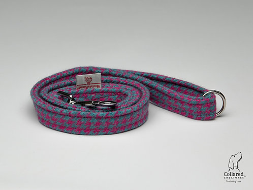 Collared Creatures Turquoise & Pink Houndstooth Luxury Harris Tweed Dog Lead
