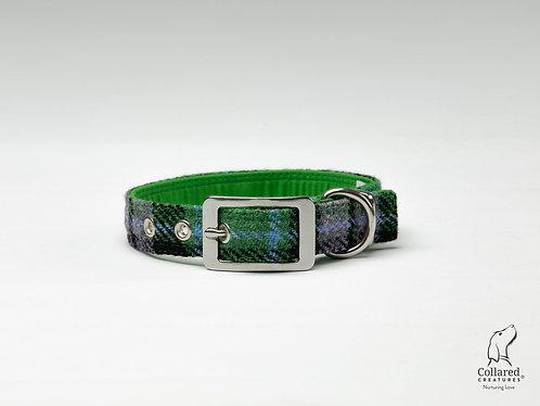 Collared Creatures Lavender & Green Check Luxury Harris Tweed Dog Collar
