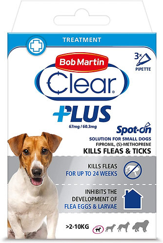 Bob Martin Clear Plus Spot-On Solution for Small Dogs 3 Tubes