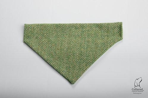 Collared Creatures Green Herringbone Luxury Harris Tweed Dog Bandana