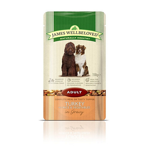 James Wellbeloved Turkey and Rice Adult Pouch 10x150g