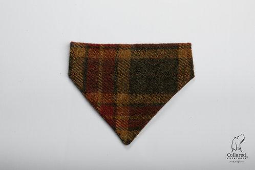 Collared Creatures Autumnal Check Luxury Harris Tweed Dog Bandana
