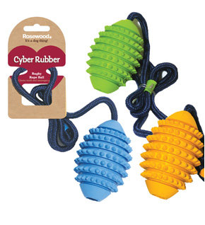 Rosewood Cyber Rubber Rugby Ball w/ Rope