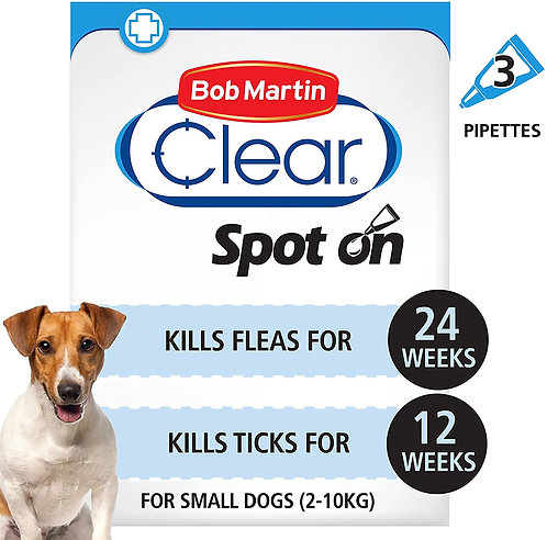 Bob Martin Clear Flea & Tick Fipronil Spot On for Small Dog, 3 Tubes