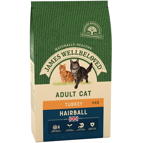 James Wellbeloved Turkey & Rice Cat Food Hairball 4kg