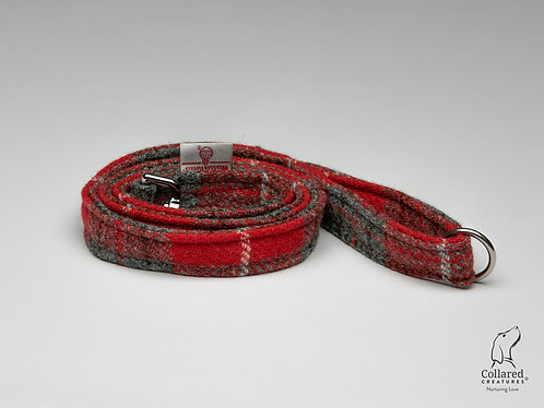 Collared Creatures Red & Grey Check Luxury Harris Tweed Dog Lead