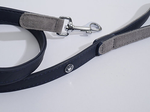 Rosewood Luxury Leather Dog Lead - Soft Touch Navy