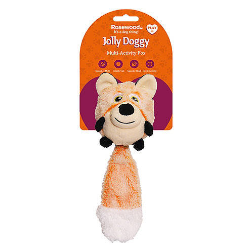 Rosewood Jolly Doggy Squeak Switch Fox Toy