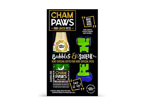 Woof & Brew Champaws Bubble & Squeak Gift Pack with Dog Toy