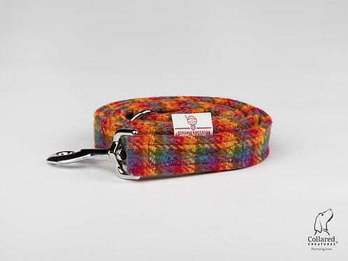 Collared Creatures Rainbow Check Luxury Harris Tweed Dog Lead