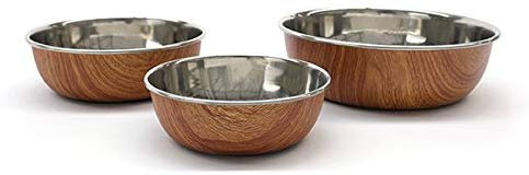 Rosewood Stylish Non Slip Wooden Effect Stainless Steel Dog bowl, 700 ml, Small