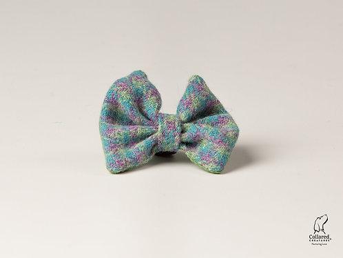 Collared Creatures Pastel Green Check Herringbone Luxury Harris Tweed Bow Tie