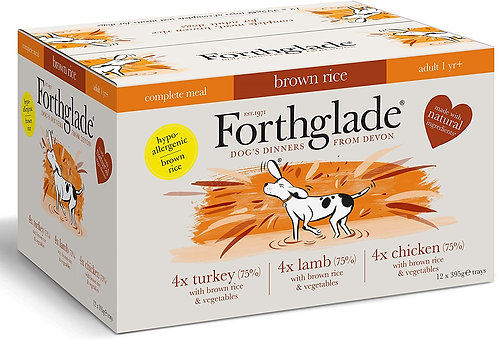 Forthglade Natural Complete Wet Dog Food with Brown Rice, Pack of 12