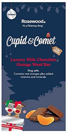 Rosewood Cupid & Comet Woof Chocolate Bar Deluxe with Real Orange for Dogs, 100g