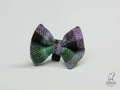 Collared Creatures Lavender & Green Check Luxury Harris Tweed Dog Bow Tie