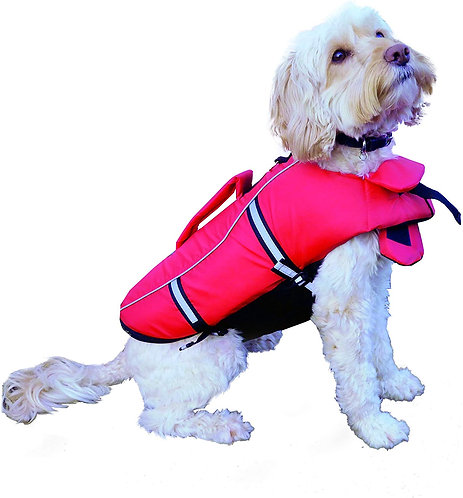 Rosewood Dog Life Jacket with Handles, Medium, Red/Black