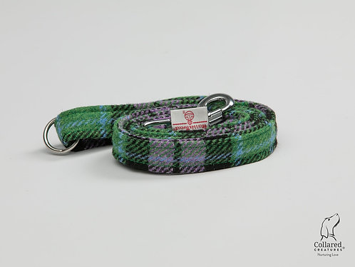 Collared Creatures Lavender & Green Check Luxury Harris Tweed Dog Lead