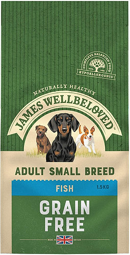 James Wellbeloved Dog Food Fish & Veg Adult Small Breed Grain Free 1.5kg
