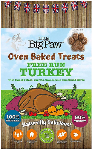 Little Big Paw Oven Baked Free Run Turkey Treats 130g