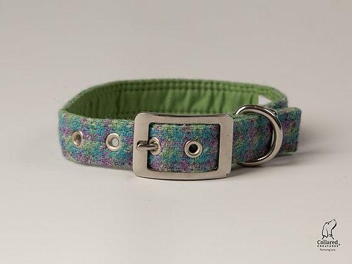 Collared Creatures Pastel Green Check Herringbone Luxury Harris Tweed Dog Collar