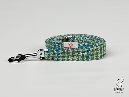 Collared Creatures Forest Green & Blue Houndstooth Luxury Harris Tweed Dog Lead